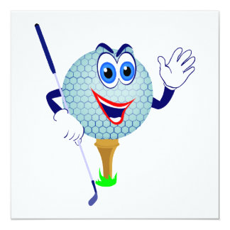 Happy Golf Ball T-shirts and Gifts 13 Cm X 13 Cm Square Invitation Card