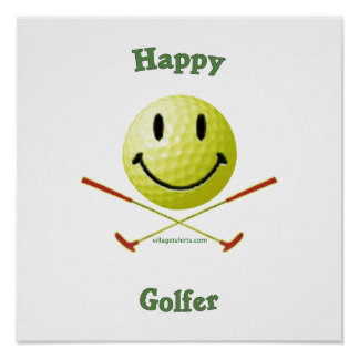 Happy Golfer Smiley Face Print