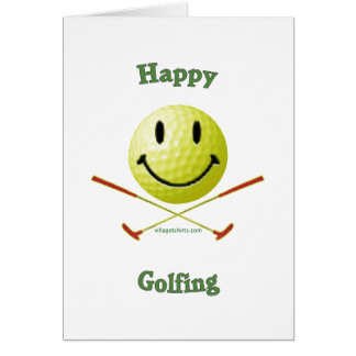 Happy Golfing Smiley Golf Ball Note Card