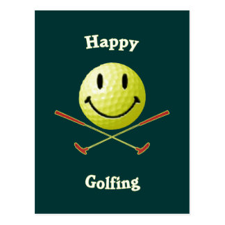 Happy Golfing Smiley Golf Ball Postcard