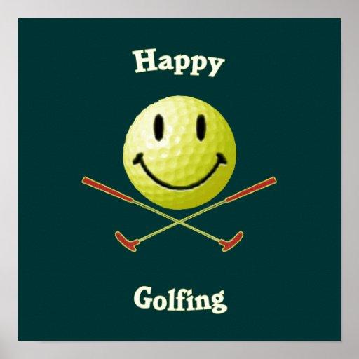 Happy Golfing Smiley Golf Ball Print