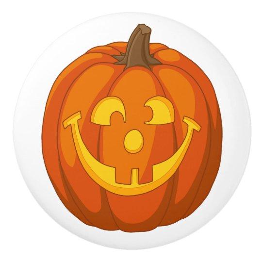 Happy Goofy Jack O Lantern Halloween Pumpkin Face Ceramic Knob