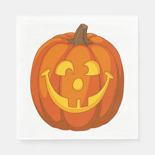 Happy Goofy Jack O Lantern Halloween Pumpkin Face Disposable Napkin