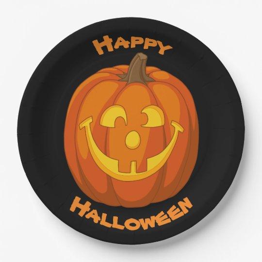Happy Goofy Jack O Lantern Halloween Pumpkin Face Paper Plate