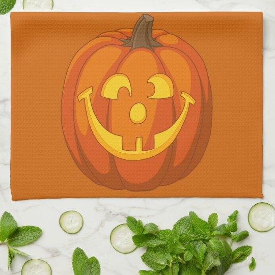 Happy Goofy Jack O Lantern Halloween Pumpkin Face Tea Towel