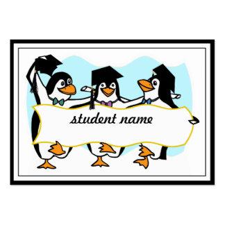 Happy Graduating Dancing Penguins w/Banner Business Card Template