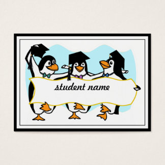 Happy Graduating Dancing Penguins w/Banner Business Card