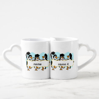 Happy Graduating Dancing Penguins w/Banner Coffee Mug Set