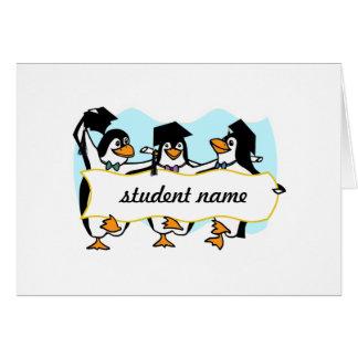 Happy Graduating Dancing Penguins w/Banner Greeting Card