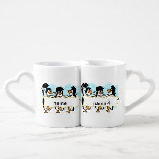 Happy Graduating Dancing Penguins w/Banner Lovers Mug
