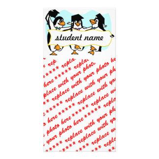 Happy Graduating Dancing Penguins w/Banner Photo Card
