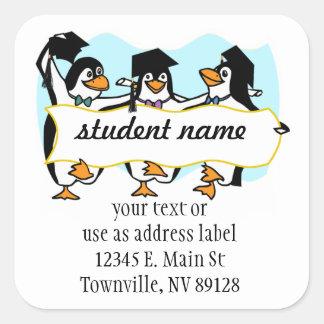 Happy Graduating Dancing Penguins w/Banner Square Sticker