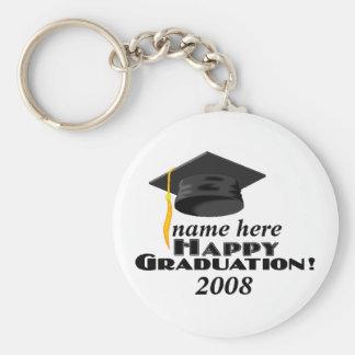 Happy Graduation-2008-customize it! Basic Round Button Key Ring