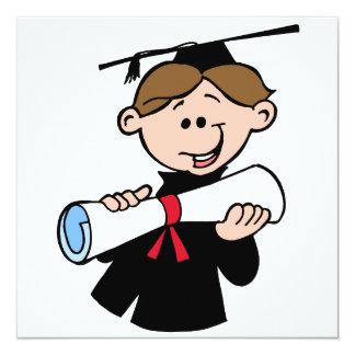 Happy Graduation Boy With Diploma Custom Invitations