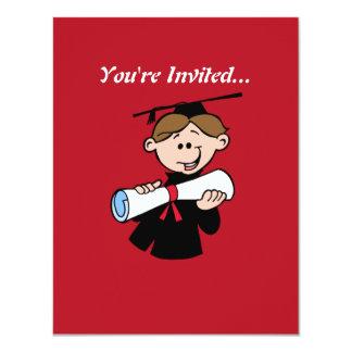 Happy Graduation Boy With Diploma Personalized Invitation