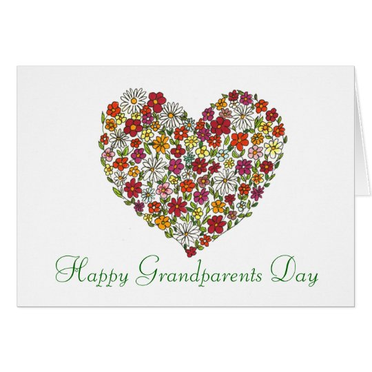 Happy Grandparents Day - Flower Heart Card