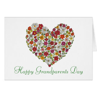 Happy Grandparents Day - Flower Heart Greeting Card