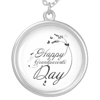 Happy grandparents day silver plated necklace