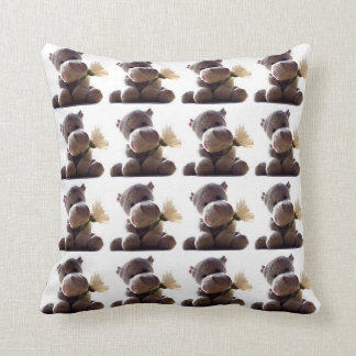 Happy Gray Hippo with Daisy Drawing Photograph Cushion