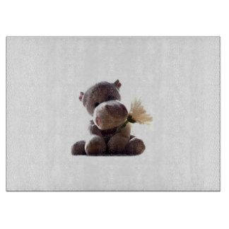 Happy Gray Hippo with Daisy Drawing Photograph Cutting Board