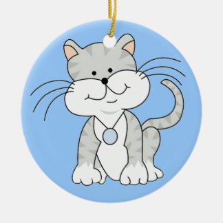Happy Gray Kitty Round Ceramic Decoration