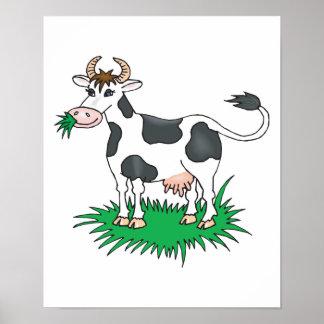 happy grazing cow poster