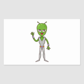 Happy Green Alien with Antennae/Antennas Waving Rectangular Stickers