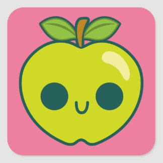 Happy Green Apple on a Pink Background Stickers