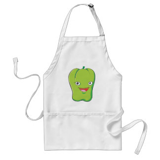 Happy Green Bell Pepper Vegetable Smiling Apron