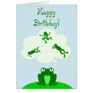 Happy Green Birthday with Leap-Dreaming Frog! Note Card