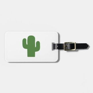 Happy green cactus in pink summer luggage tag