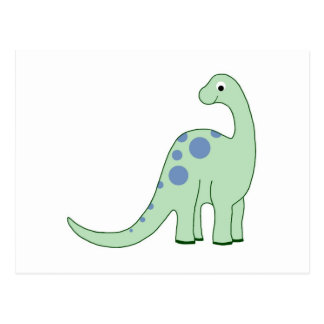 Happy Green Cartoon Dinosaur Postcard