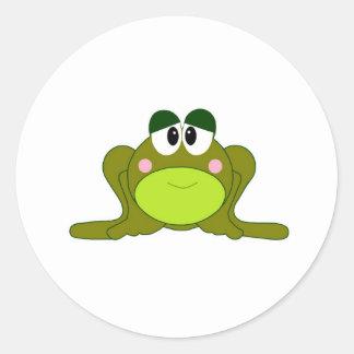 Happy Green Cartoon Frog Round Stickers