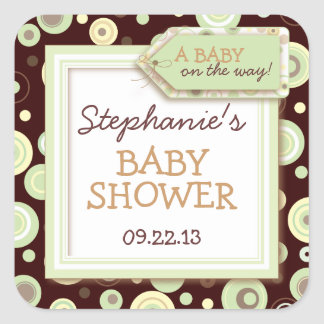 Happy Green Dots Neutral Baby Favor & Seal Sticker