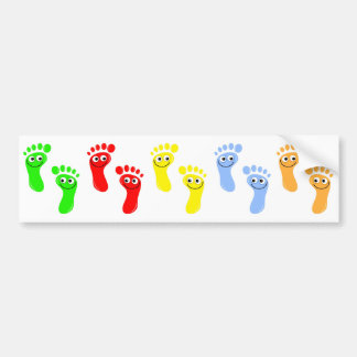 Happy Green Feet, Happy Red Feet, Happy Yellow ... Bumper Sticker