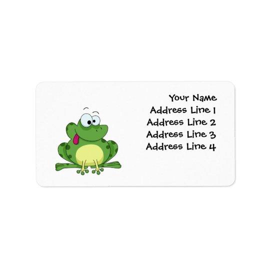 Happy Green Frog Label
