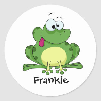Happy Green Frog Round Stickers