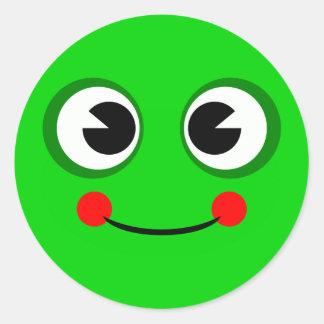 Happy Green Frog Round Sticker