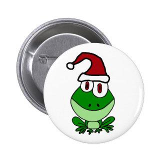 Happy Green Frog Wearing Santa Hat 6 Cm Round Badge
