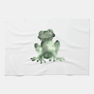 Happy green frog white kitchen towel frogs