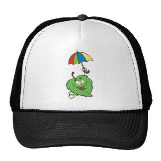 Happy Green Leaf With Umbrella Cap