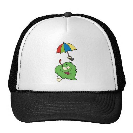 Happy Green Leaf With Umbrella Hats