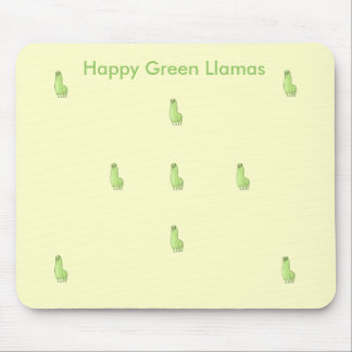 happy green llama Mousepad