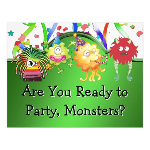 Happy Green Monster Birthday Party Custom Announcement