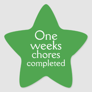 Happy Green one weeks chores completed sticker