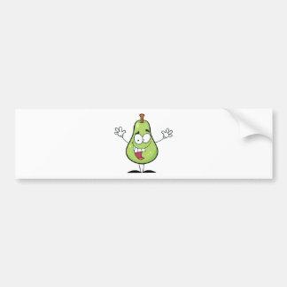 Happy Green Pear Cartoon Character Bumper Sticker