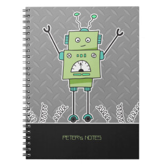 Happy Green Robot & Metal Springs Personalised Spiral Note Books