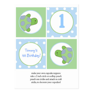 Happy Green Sea Turtles Cupcake Toppers Postcard