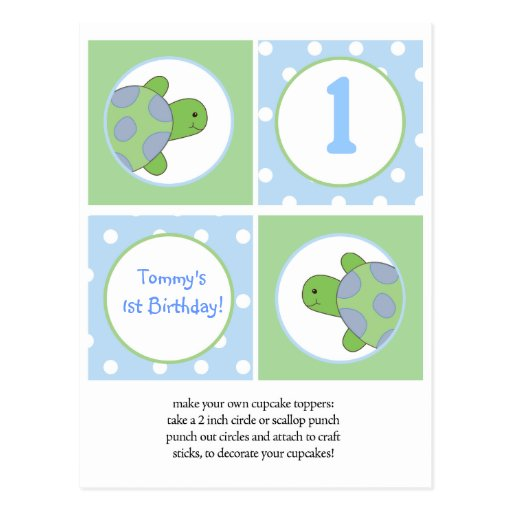 Happy Green Sea Turtles Cupcake Toppers Postcards