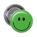 Happy green smiley face 6 cm round badge